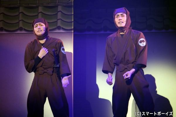 ドクタケ忍者隊の助っ人、ドす部下(左・東将司さん)とドクササコのすご腕忍者(右・藤田遼平さん)には悩みがあり……