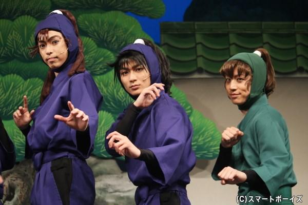 (左から) 尾浜勘右衛門役の佐藤智広さん、久々知兵助役の山木透さん、善法寺伊作役の反橋宗一郎さん