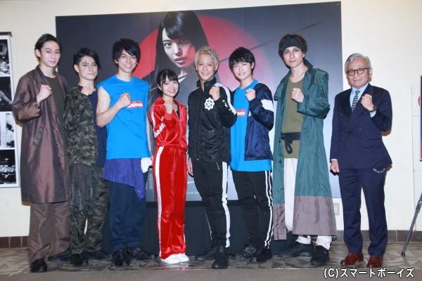 (左より)田中涼星さん、松村龍之介さん、小松準弥さん、北原里英さん、味方良介さん、増子敦貴さん、細貝圭さん、河毛俊作さん