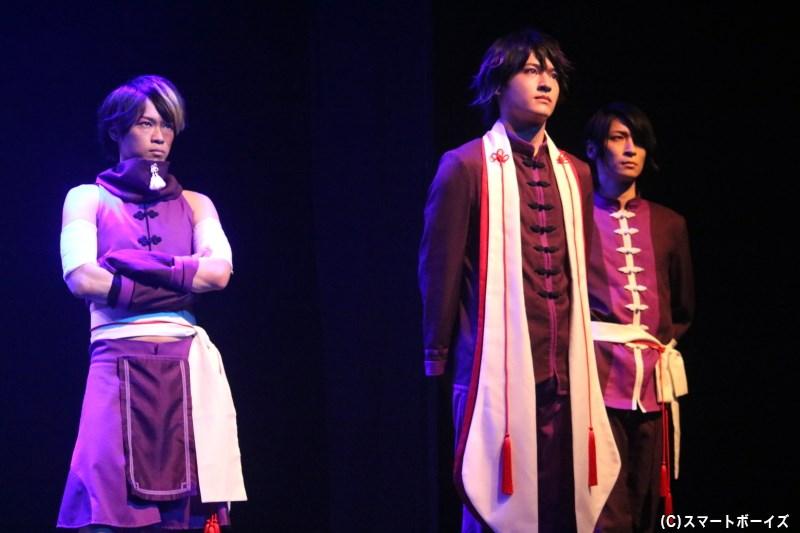 (左から)望月出雲役の西野太盛さん、石田上之助役の神里優希さん、石川 倫役の小栗諒さん