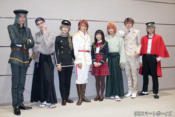 (左より)吉岡佑さん、汐崎アイルさん、橋本祥平さん、荒木宏文さん、鈴木桃子さん、北川尚弥さん、遊馬晃祐さん、橘龍丸さん
