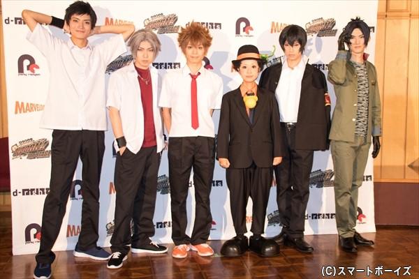 (左より)山本涼介さん、桑野晃輔さん、竹中凌平さん、ニーコさん、岸本勇太さん、和田雅成さん