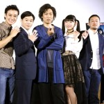 (左から)高崎翔太さん、矢本悠馬さん、石田明さん、長澤茉里奈さん、富澤昭文監督