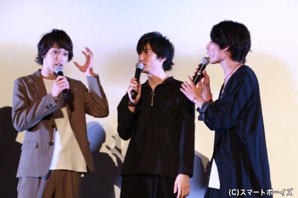 撮影中のエピソードを熱く語る杉江さん、山本さん、橋本さん