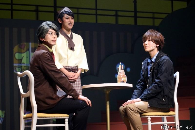菅見直樹(左・平牧 仁さん)と藤田 潤(右・宮城紘大さん)が、久々の再会で訪れたのは?