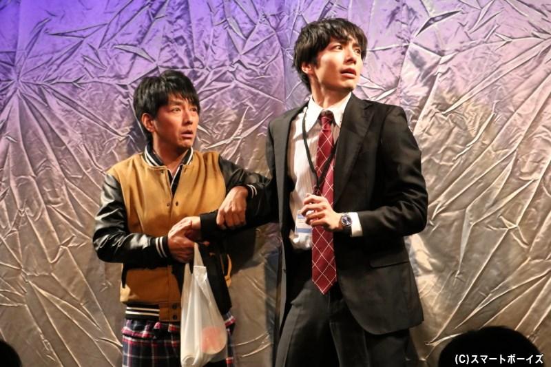 (左から)自身と同名の役柄を演じる川本成さん、和田琢磨さん