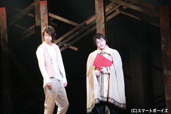 (左より) 謎の青年役の杉江大志さん 謎の男役の槇尾ユウスケさん