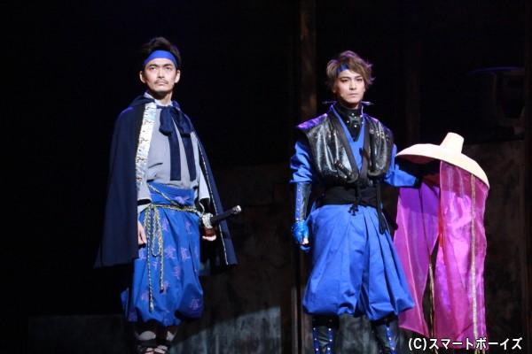(左より) 直江兼続役の加藤啓さん 宇佐美定満役の小早川俊輔さん