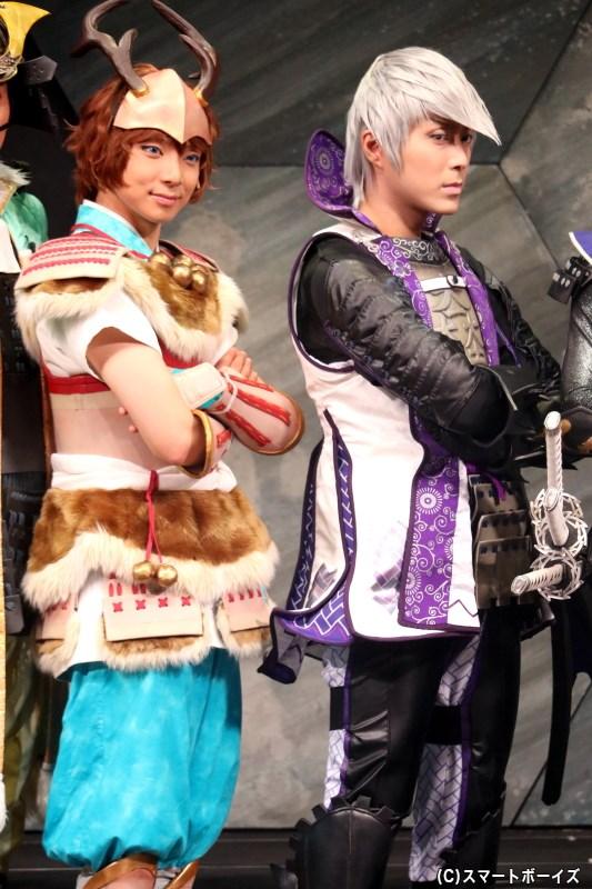 (左から)山中鹿之介役の橘 龍丸さん(両公演出演)、石田三成役の沖野晃司さん