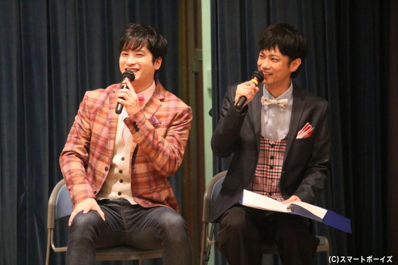 1日名誉MC・馬場良馬さん(右)&1日名誉サブMC・滝口幸広さん(左)のもとに、スマボゆかりのゲストが登場!