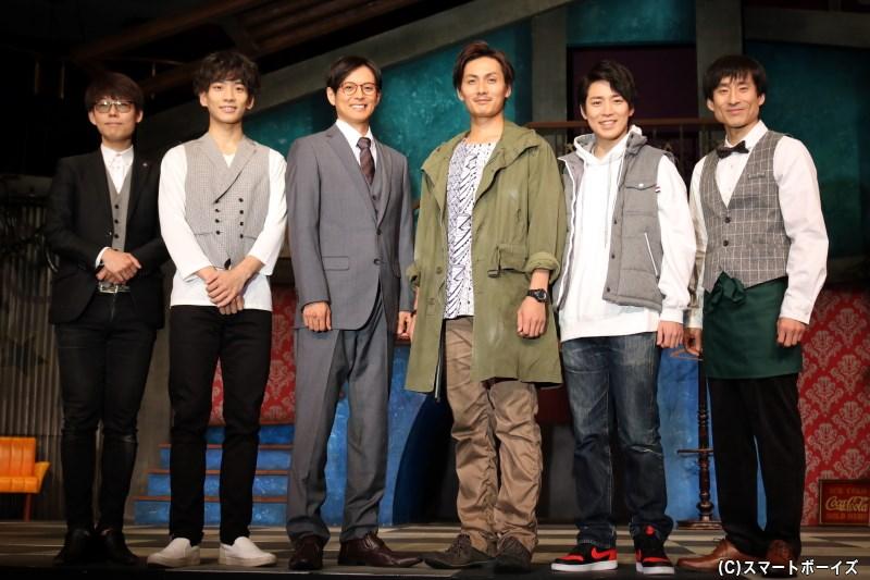 (左から)ほさかようさん、吉高志音さん、河合龍之介さん、加藤和樹さん、鎌苅健太さん、なだぎ武さん