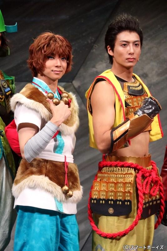 (左から)山中鹿之介役 橘龍丸さん、徳川家康役の中尾拳也さん