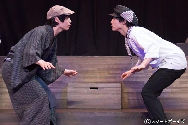 千代太(右)がタイムスリップした先は、祖先の益兵衛(左)がいる幕末!