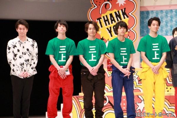 (左より)三上真史さん、奥谷知弘さん、小早川俊輔さん、谷水力さん、長田翔恩さん