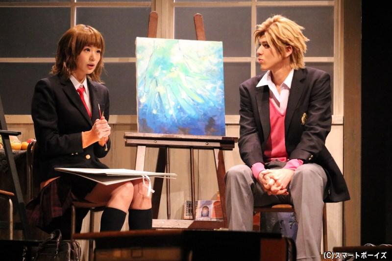 映画研究部の春輝と、美術部の合田美桜(左・長谷川かすみさん)の関係にも変化が