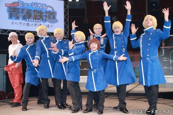 (左より)森山栄治さん、滝口幸広さん、渡辺コウジさん、橋本汰斗さん、KIMERUさん、木村敦さん、土方柚希さん、馬場良馬さん、岩城直弥さん