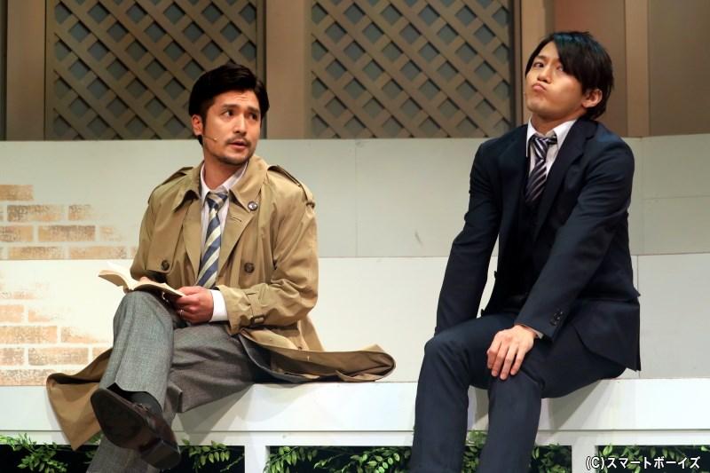 (左から)刑事・飯島秀人役の倉貫匡弘さん、後輩刑事・尾形恭平役の松木里功さん