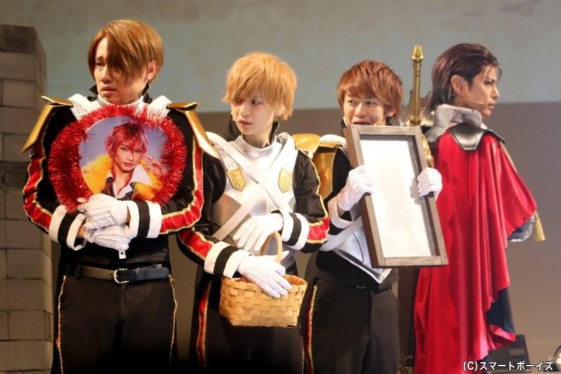 (左から)ナレク親衛隊・ハディ役の馬庭良介さん、サンバン役の坂下陽春さん、エイミル役の野見山拳太さん