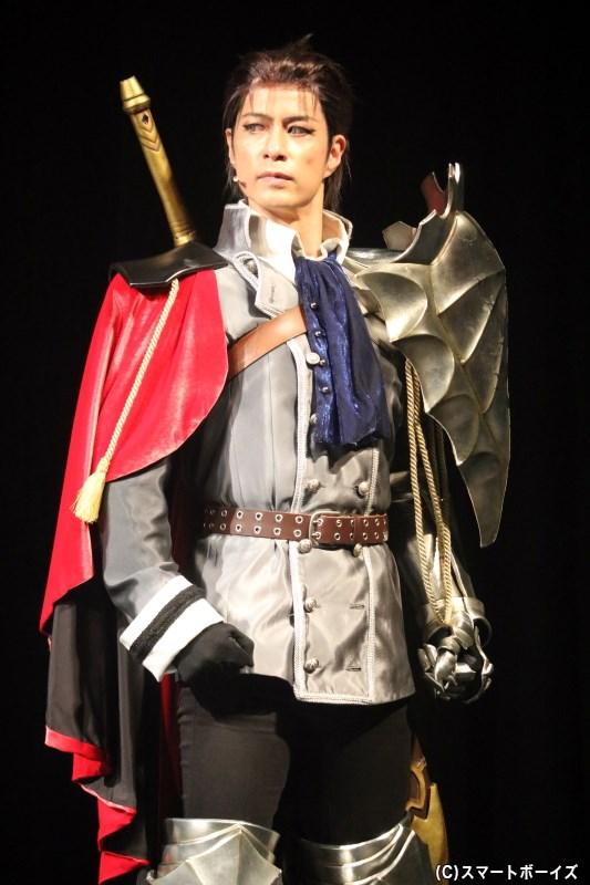 ナレクたちに振り回されている、騎士道命なミリドニアの騎士・リオット役の進藤 学さん