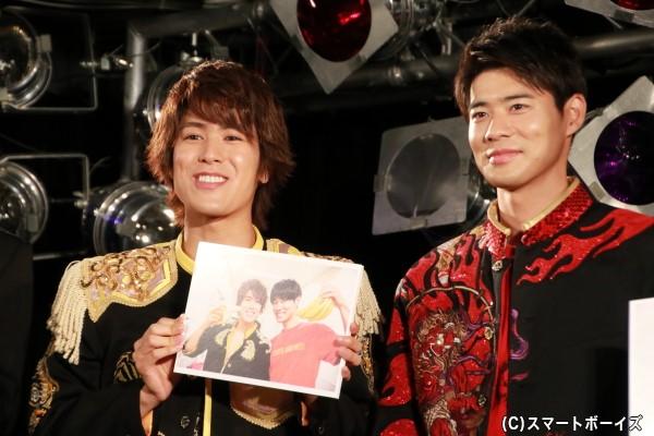 平松さんのお気に入りは、本番直前に撮影された辻本さんとバナナを持っているショット