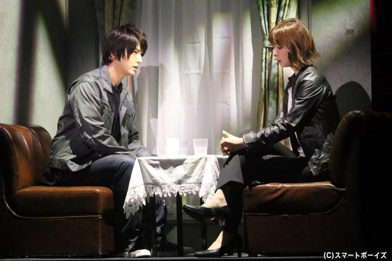 生前に佐藤和夫(左・中村優一さん)は、自身が再婚することを雪平に報告していた