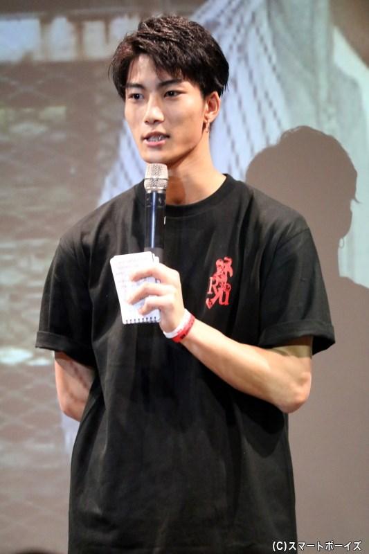 前説&イベント中のお手伝いを務めた、期待の俳優・里中将道さん