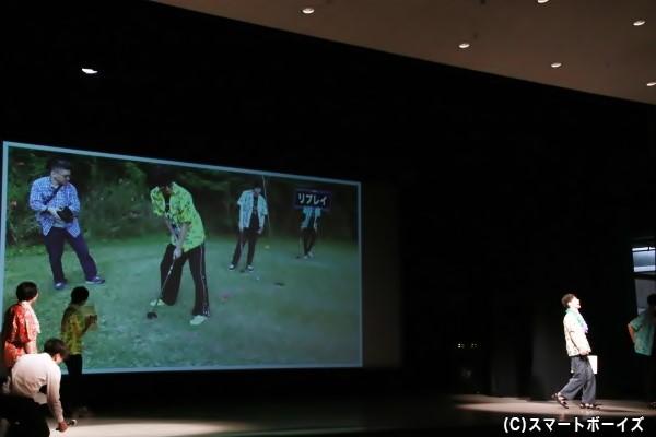パターゴルフでの一コマ。高崎さんがボールを打った後に奇跡が! 気になる結果はDVDで!