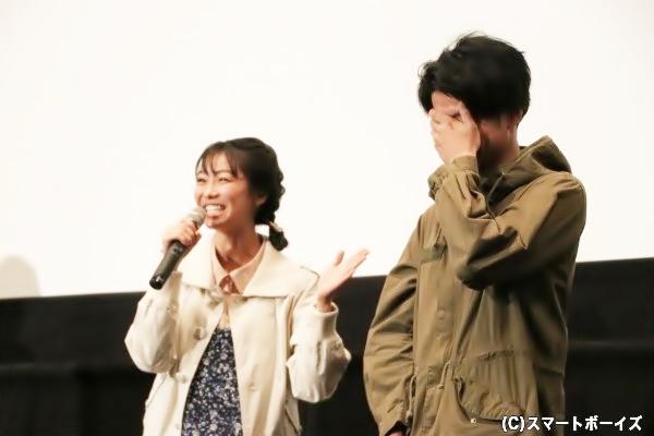 高田さんの「カズミン&み~たん」撮影エピソードに手で顔を押さえる武田さん