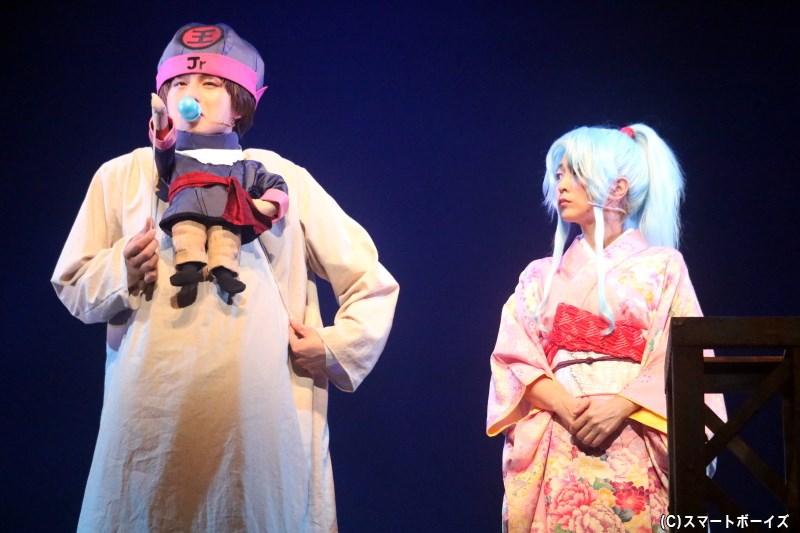 コエンマの指示に従い、ぼたん(右・平田裕香さん)は幽助を手助けしていく