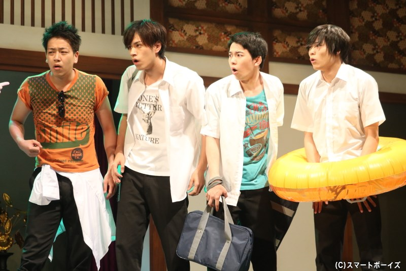 (左から)ユウキ役の長谷川恒希さん、ケイスケ役の安孫子宏輔さん(Candy Boy)、マサヨシ役の園村将司さん、シュウ役の関修人さん