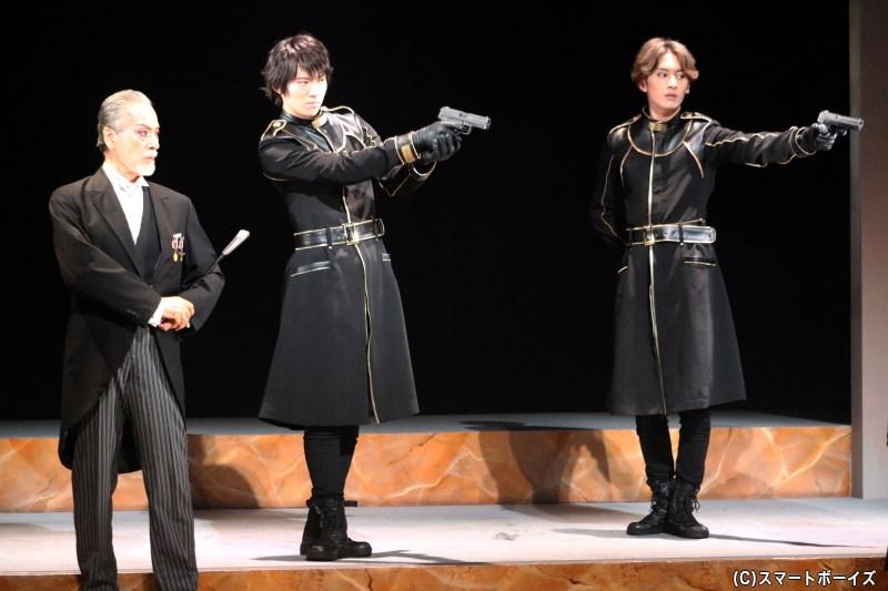 (左から)真生光郷之助役の藤木 孝さん、藤戸 要役の山崎大輝さん、ラスール・ミハイロヴィッチ・カレージン役の菊池修司さん