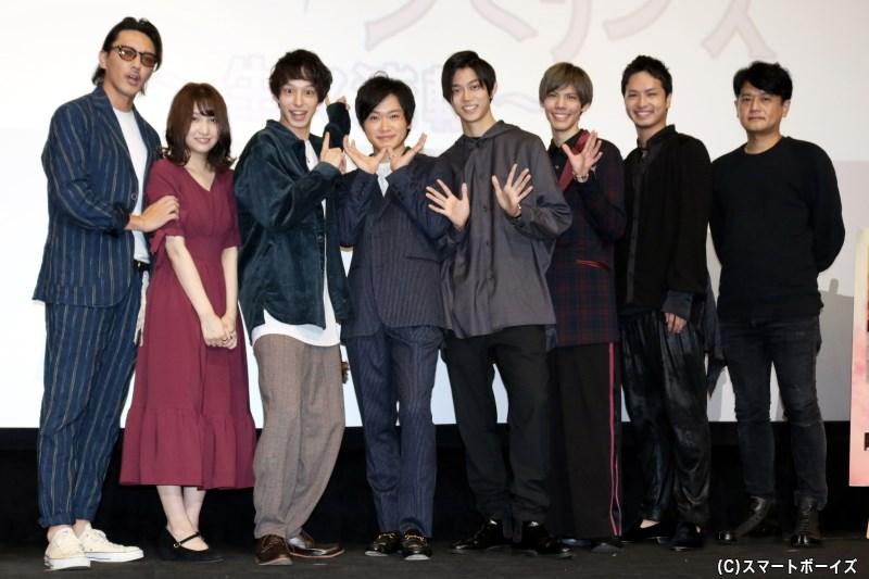 (左から)金子昇さん、今出舞さん、杉江大志さん、鳥越裕貴さん、高橋健介さん、健人さん、中村優一さん、ヨリコ ジュン監督