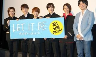 劇場版SOARA 映画『LET IT BE -君がらしくあるように-』がついに公開! (左から)植田慎一郎さん、石渡真修さん、堀田竜成さん、吉田知央さん、沢城千春さん、伊藤秀隆監督