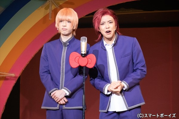関西サンリオ男子の羽倉(右・北乃さん)と若野(左・與座さん)は、漫才で会場を沸かす!