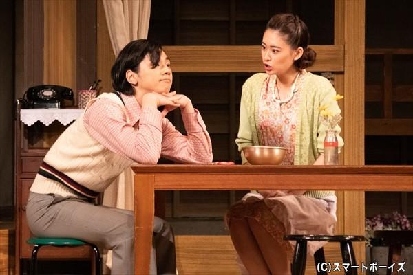 結婚前の夏子(柳さん)と、下宿人の中富先生(三津谷さん)