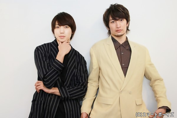 (左)シンジ役の有澤樟太郎さん (右)カタオカ役の伊万里有さん
