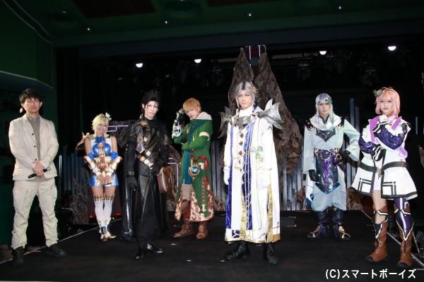 (左より)今泉潤さん、花影香音さん、健人さん、遊馬晃祐さん、中村誠治郎さん、松田岳さん、野本ほたるさん