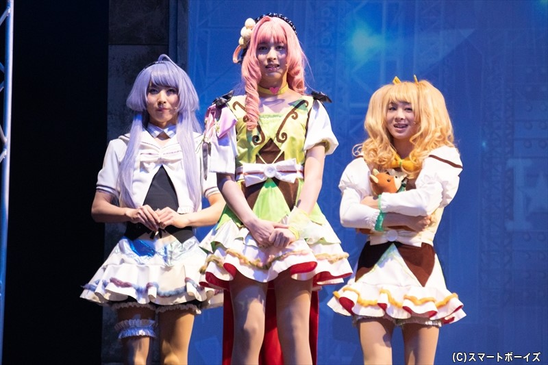 「POP'N STAR(ポップンスター)」(左より)神楽坂ルナ役の前嶋曜さん、華房心役の設楽銀河さん、及川桃助役の今牧輝琉さん