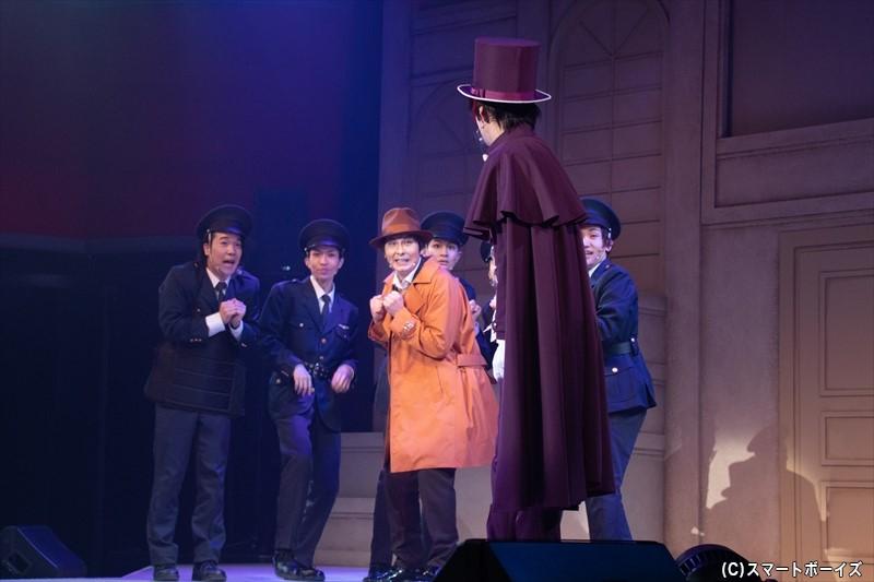 目の前のジャックに照れまくる乙女チックな錦田警部