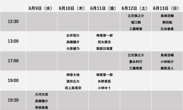 キャスト出演日表のコピーr