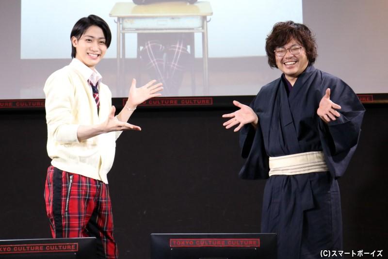 (左から)古賀タクヤ役の武本悠祐さん、⻄垣匡基監督