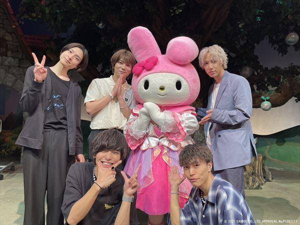 左上から新納直さん、馬場健太さん、マイメロディ、目黒耕平さん 左下から相馬理さん、齋藤天晴さん